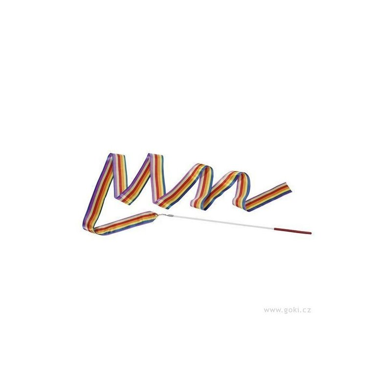 Gymnastická stuha s tyčkou - hračka - pruhovaná