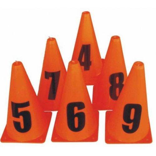 Set oranžových kuželů s číslicemi 0-9
