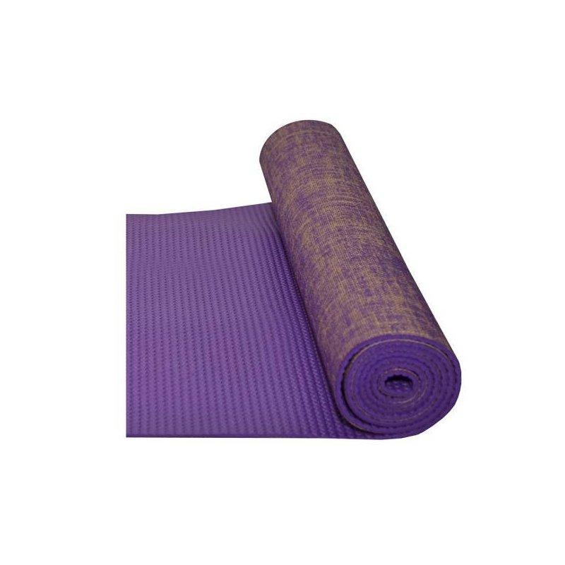 Fialová jóga podložka s jutovým vláknem